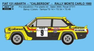 Decal 1/24 Reji model - Fiat 131 Abarth - Rally Monte Carlo 1981 - #8 Andruet /