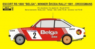 Decal 1/24 Reji model - Ford Escort Mk.II - Škoda rally 1981 - R.Droogmans