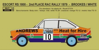 Transkit 1/24 Reji model - Ford Escort RS 1800 - 2nd RAC Rally 1979 - Brookes /