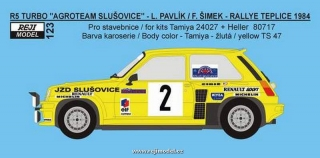 Decal 1/24 Reji model - Renault 5 Turbo - Rallye Teplice 1984 – Pavlík/Šimek