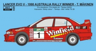 Decal 1/24 Reji model - Mitsubishi Lancer Evo V - Rally Australia 1998