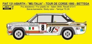 Decal 1/24 Reji model - Fiat 131 ABARTH, Tour de Corse 1980 - A. Bettega