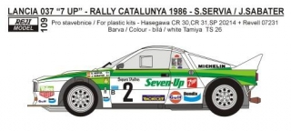 "Decal 1/24 Reji model - Lancia 037 ""Seven Up"" Rally Catalunya 1986 - S. Servia"