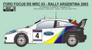 Decal 1/24 Reji model - Ford Focus WRC - Rally Argentina 2003/ M.Martin