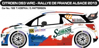 Decal 1/24 MF Zone - Citroen DS3 WRC - T. Kostka/ Rallye de France 2013