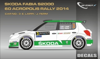 Decal 1/24 MF Zone - Škoda Fabia S2000 - E. Lappi/ Acropolis Rally 2014