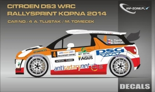 Decal 1/24 MF Zone - Citroen DS3 WRC - A. Tlusťák/ Rallysprint Kopná 2014