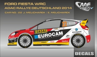 Decal 1/24 MF Zone - Ford Fiesta WRC - E. Melichárek/ Rallye Deutschland 2014