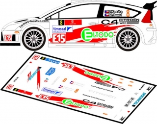 Decal 1/24 MF Zone - Citroen C4 WRC - T. Kostka/ Rally Vrchovina 2012