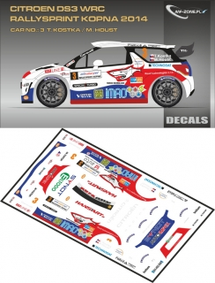 Decal 1/24 MF Zone - Citroen DS3 WRC - T. Kostka/ Rallysprint Kopná 2014