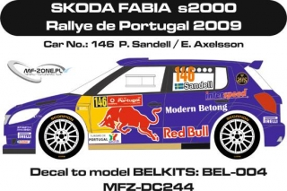 Decal 1/24 MF Zone - Škoda Fabia S2000 - Sandel/ Rallye de Portugal 2009
