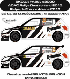 Decal 1/24 MF Zone - Škoda Fabia S2000 - Kosciuszko/  Deutschland/France 2010