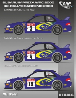 Decal 1/24 MF Zone - Subaru Impreza WRC - Burns,Solberg,J.-Joseph/ San Remo 2000