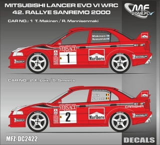 Decal 1/24 MF Zone - Mitsubishi Lancer Evo 6 WRC - Makinen,Loix/ San Remo 2000