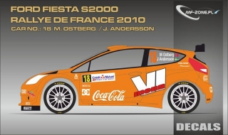 Decal 1/24 MF Zone - Ford Fiesta S2000 - M. Ostbarg/ Rallye de France 2010