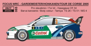 Decal 1/24 Reji model - Ford Focus WRC 04 Sardinia / Tour de Corse 2005 Gardemei