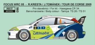 Decal 1/24 Reji model - Ford Focus WRC 04 Rally Sardinia/Tour de Corse 05 Kresta