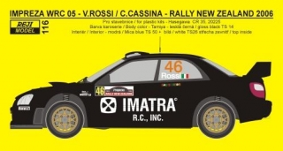 Decal 1/24 Reji model - Subaru Impreza WRC 05 Rally New Zealand 2006 - V.Rossi