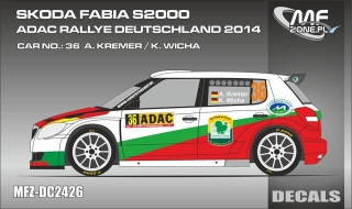 Decal 1/24 MF Zone - Škoda Fabia S2000 - A. Kremer/ Deutschland 2014