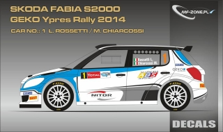 Decal 1/24 MF Zone - Škoda Fabia S2000 - Rossetti/ Ypres Rally 2014