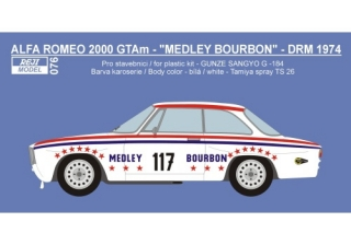 Decal 1/24 Reji model - Alfa Romeo 2000 GTAm - DRM 1974