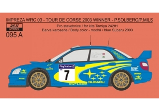 Decal 1/24 Reji model - Subaru Impeza WRC 03 - winner Tour de Corse 2003