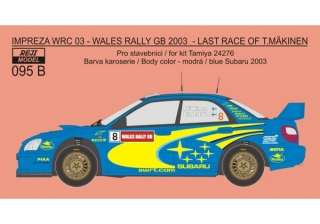 Decal 1/24 Reji model - Subaru Impeza WRC 03 - Wales rally GB 2003