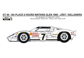 Decal 1/24 Reji model - Ford GT 40 - Watkins Glen 1969 – Joest / Kelleners
