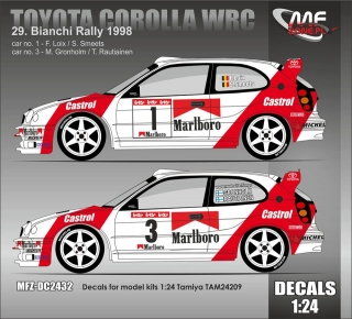Decal 1/24 MF Zone - Toyota Corolla WRC - F. Loix/ Bianchi Rally 1998