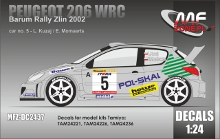 Decal 1/24 MF Zone - Peugeot 206 WRC - L. Kuzaj/ Barum Rally Zlín 2002