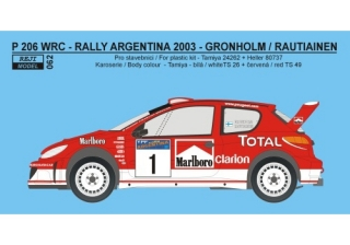 Decal 1/24 Reji model - Peugeot 206 WRC 2003 - Rally Argentina 2003