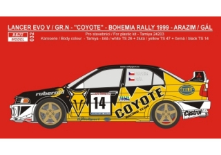 Transkit 1/24 Reji model - Mitsubishi Lancer Evo V Gr.N - Coyote rally team 1999