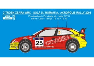 Decal 1/24 Reji model - Citroen Xsara WRC Rally Acropolis 2003 – D.Sola