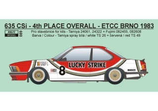 "Decal 1/24 Reji model - BMW 635 CSi ""LUCKY STRIKE"" - ETTC – Grand Prix Brno 1983"