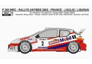 "Decal 1/24 Reji model - Peugeot 206 WRC ""Mobil 1"" -> Rally Antibes 2002 –J.Kulig"