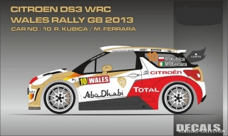 Decal 1/24 MF Zone - Citroen DS3 WRC - Wales Rally GB 2013/ R. Kubica