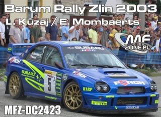 Decal 1/24 MF Zone - Subaru Impreza WRC - Barum Rally Zlín 2003/ L. Kuzaj