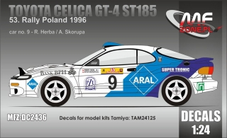 Decal 1/24 MF Zone - Toyota Celica GT-4 ST185 - Rally Poland 1996/ R. Herba