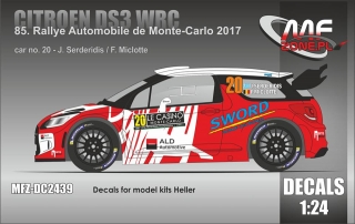 Decal 1/24 MF Zone - Citroen DS3 WRC - Monte Carlo 2017/ Serderidis