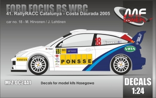 Decal 1/24 MF Zone - Ford Focus RS WRC - Catalunya 2005/ Hirvonen