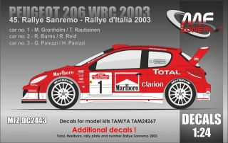 Decal 1/24 MF Zone - Peugeot 206 WRC - Rally San Remo 2003/ Gronholm, Burns