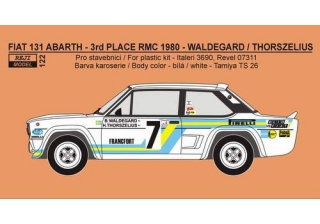 "Decal 1/24 Reji model - Fiat 131 Abarth ""SVENSKA"" -> 3th place RMC"