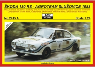 Resin kit 1/24 - Škoda 130RS - Agroteam JZD Slušovice - 1983 Rallye Tatry /Barum