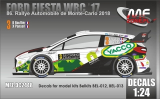 Decal 1/24 MF Zone - Ford Fiesta WRC - Rally Monte Carlo 2018/ Bouffier