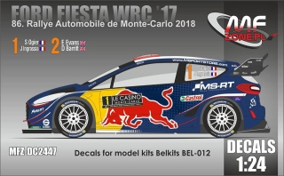 Decal 1/24 MF Zone - Ford Fiesta WRC - Rally Monte Carlo 2018/ Ogier or Evans