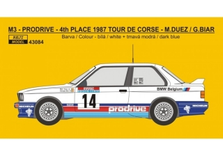 Decal 1/43 Reji Model - BMW M3 - 1987 Tour de Corse rallye - M.Duez / G.Biar