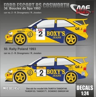 Decal 1/24 MF Zone - Ford Escort RS Cosworth - Spa 93 or Poland 93/ Droogmans