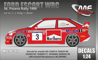 Decal 1/24 MF Zone - Ford Escort WRC - Rally Poland 1999/ Kulig