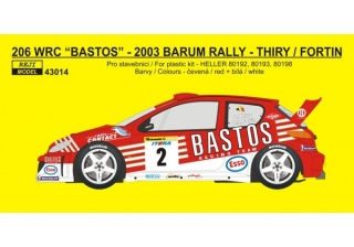"Decal 1/43 Reji Model - Peugeot 206 WRC ""Bastos"" – B.Thiry 2003"