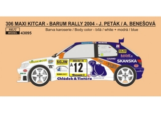 Decal 1/43 Reji Model - Peugeot 306 Maxi KitCar Evo Barum Rally 2004